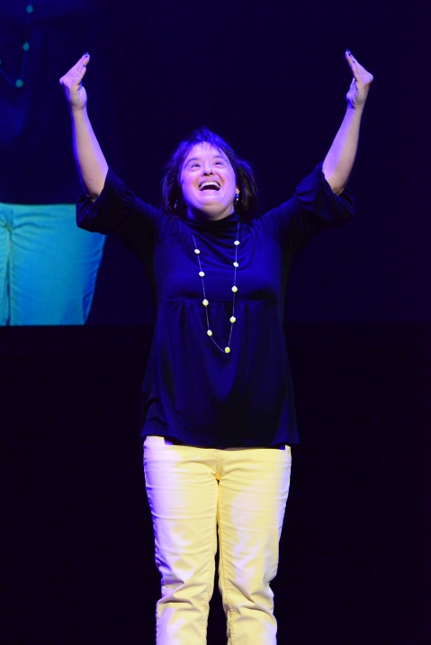 "Lisa Smith, performing ""Hallelujah"" with interpretive signing at Best Buddies Leadership Conference Opening Ceremonies. 