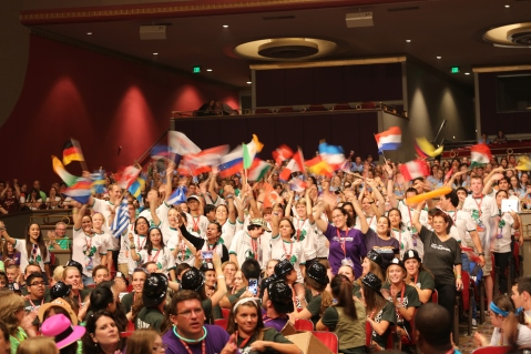 Best Buddies International programs chapters waving their flags at Best Buddies Leadership Conference Opening Ceremonies © John David Arroyo, Best Buddies International. All rights reserved.