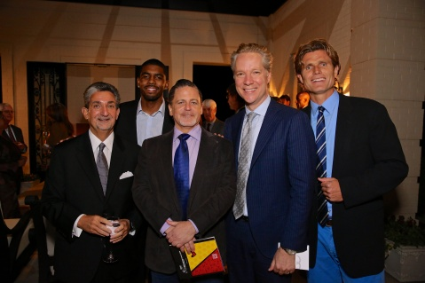 (L-R) Ted Leonsis, Kyrie Irving, Dan Gilbert, Scott Keogh, and Anthony K. Shriver at the Audi Best Buddies Challenge: Washington, D.C. Friday Reception at Lynn & Ted Leonsis' Potomac, Maryland estate.