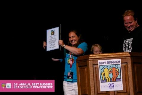 Julie Remillard accepts the 1st Best Buddies Jobs Employee of the Year Award