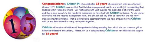 Cristen 15 Years at Holland & Knight