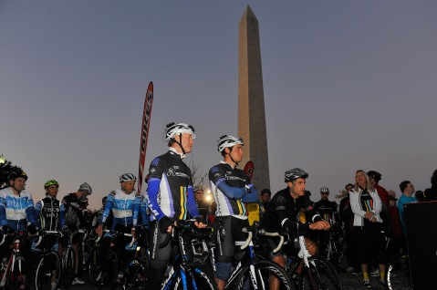 WASHINGTON, DC - OCTOBER 18:  Cyclists prepare at the 2014 Audi Best Buddies Challenge on October 18, 2014 in Washington, DC.  (Photo by Larry French/Getty Images)