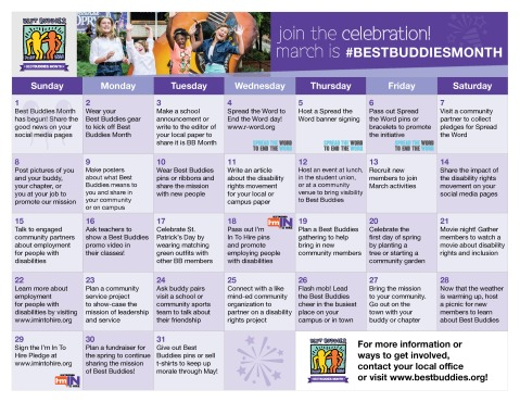 Click the image to download the 2015 Best Buddies Month Calendar